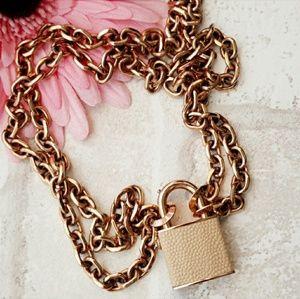 Henri Bendel Rose Gold Padlock Necklace